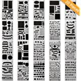 CH HAICHENG 20 PCS Bullet Journal Stencil Plastic Planner Set for Journal/Notebook/Diary/Scrapbook DIY Drawing Template Stencil 4x7 Inch