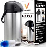 ONE DAY SALE! - Thermal Coffee Airpot - Beverage Dispenser (102 oz.) By Vondior - Stainless Steel Urn For Hot/Cold Water Or, Pump Action, Party Thermos Carafe, Bunn Cleaning Brush Bonus, Lid Pitcher
