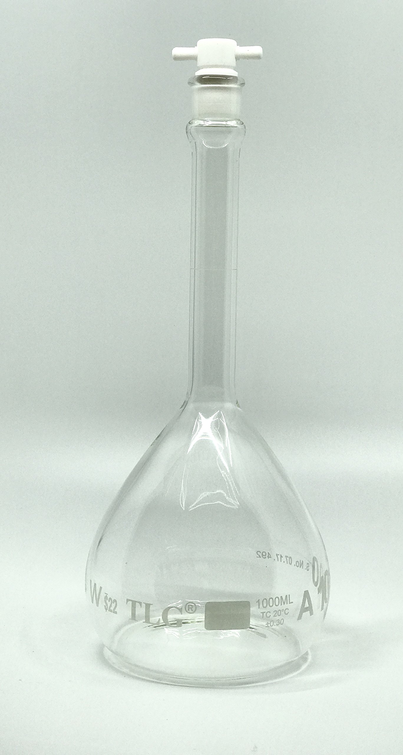 CHEM SCIENCE INC 129.702.09 Volumetric Flask, Serialized and Certified with One Graduation Mark Class A, Narrow Mouth, Capacity 1000 mL with Teflon Stopper Size # 22