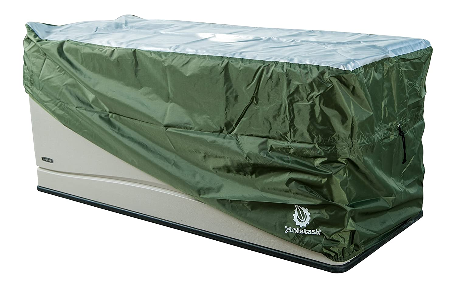 YardStash Deck Box Cover XL to Protect Large Deck Boxes: Lifetime 60012 Extra Large Deck Box Cover Suncast DBW9200 Deck Box Cover Rubbermaid 5E39 Deck Box Cover & Rubbermaid w/Seat Deck Box Cover YSDBOXC01