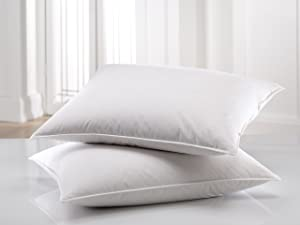 East Coast Bedding Down Pillows – Set of 2 – 100% Real White Down, Superior Hotel Quality Pillows for Side & Back Sleeping – Ultra Soft, 550 Fill Power, Cotton Shell (Standard)