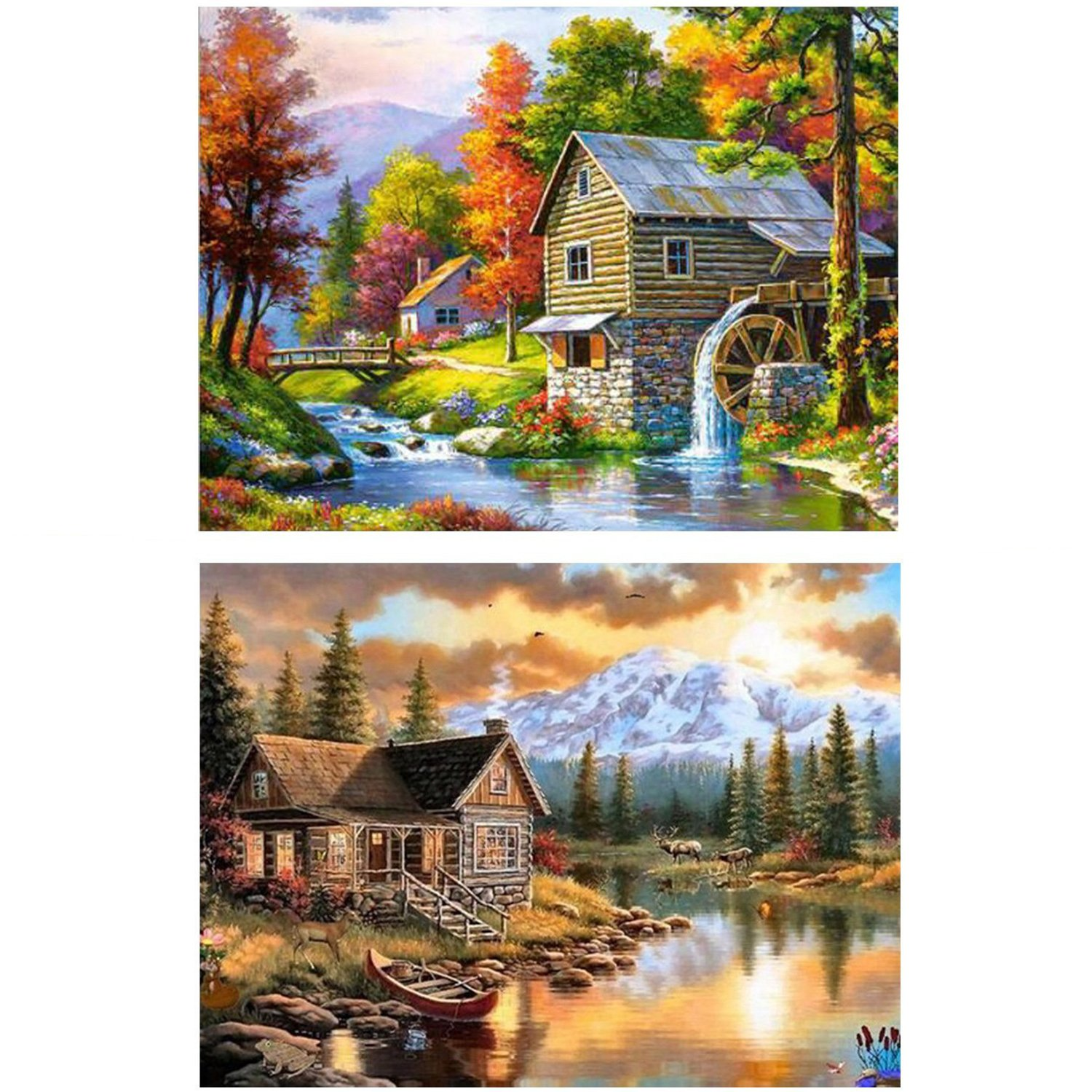 2 Pack 5D DIY Diamond Painting Set Full Drill Arts Crafts for Adults Relieve Stress for Living Room Decoration, Forest House(12X16 inches/30X40cm) BUBBLE