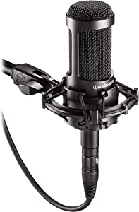 Audio-Technica AT2035 Cardioid Condenser Microphone, Perfect for Studio, Podcasting & Streaming, XLR Output, Includes Custom Shock Mount,Black