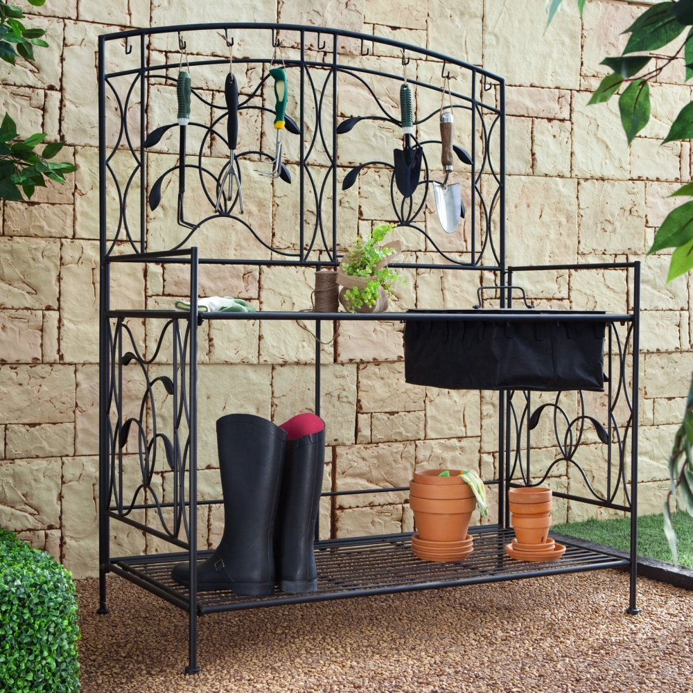 Oversized! Coral Coast Willow Creek Metal Potting Bench - Black by Coral Coast