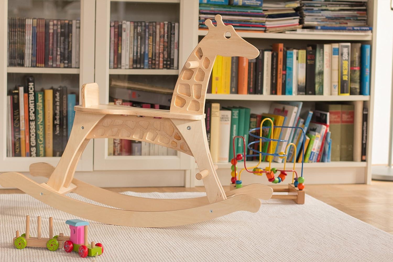 Schaukelpferd Schaukelgiraffe aus Holz: /ökologisch Spielzeug ab 1 Jahr mit Sitzring sozial hergestellt