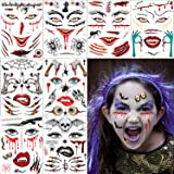 Halloween Temporary Tattoos for Kids - Removable Halloween Face Tattoo Fake Spider Bat Spider Webs Tattoo Temporary Cosplay P