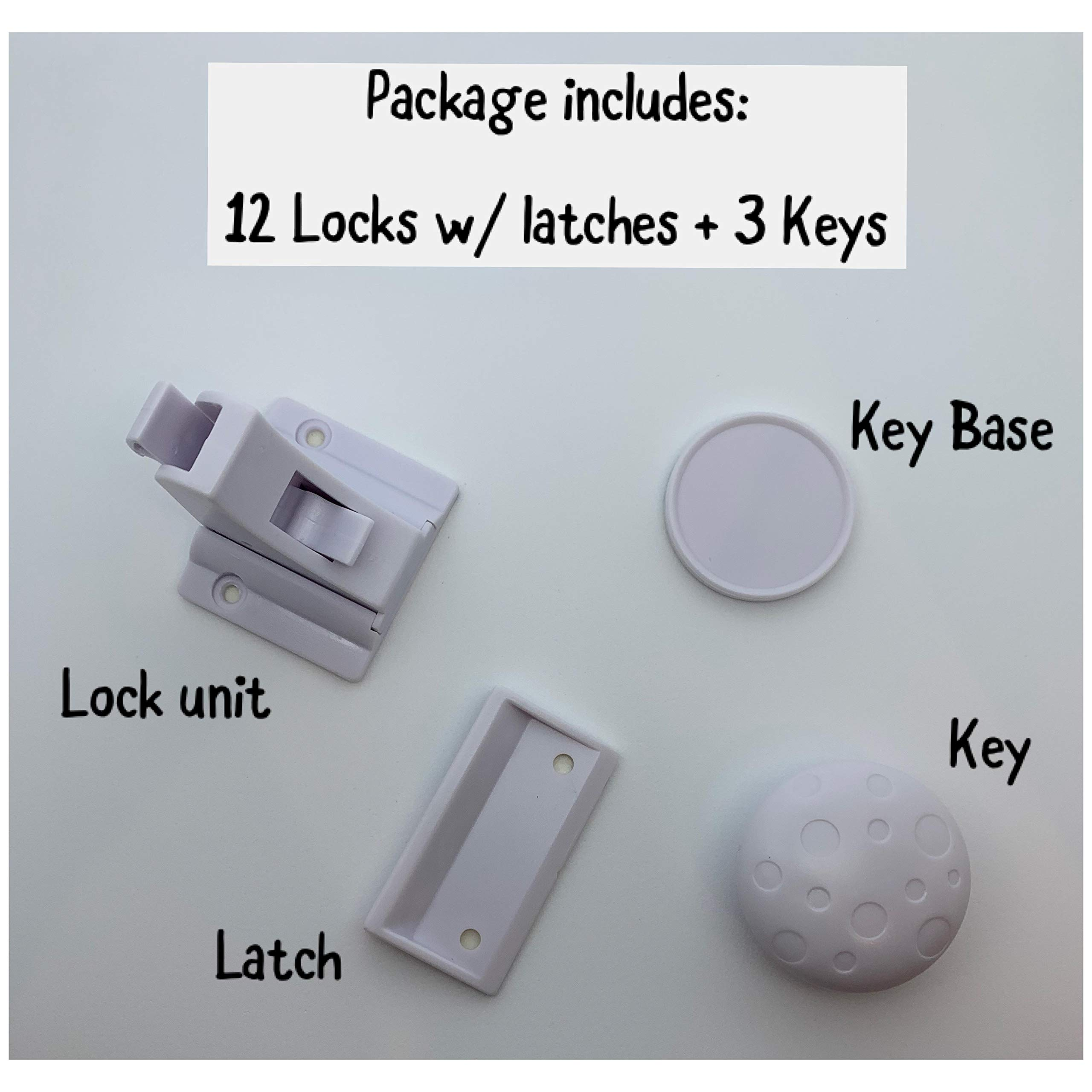Country Kidz Magnetic Baby Proof Locks- 12 Safety Locks with 3 Keys- for Child proofing cabinets- Child and Baby Proof- 3M Adhesive Glue- No Screws- No Drilling- No Tools- Quick and Easy I