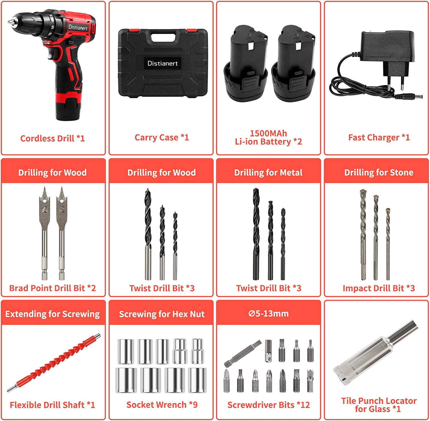 Wood Wall 34Pcs Combi Drill Set with 2 Batteries 18+1 Torque Setting Electric Screwdriver with 2-Speed LED Light for DIY 3//8 Chuck Distianert Cordless Drill Driver 12V Concrete 30Nm Max