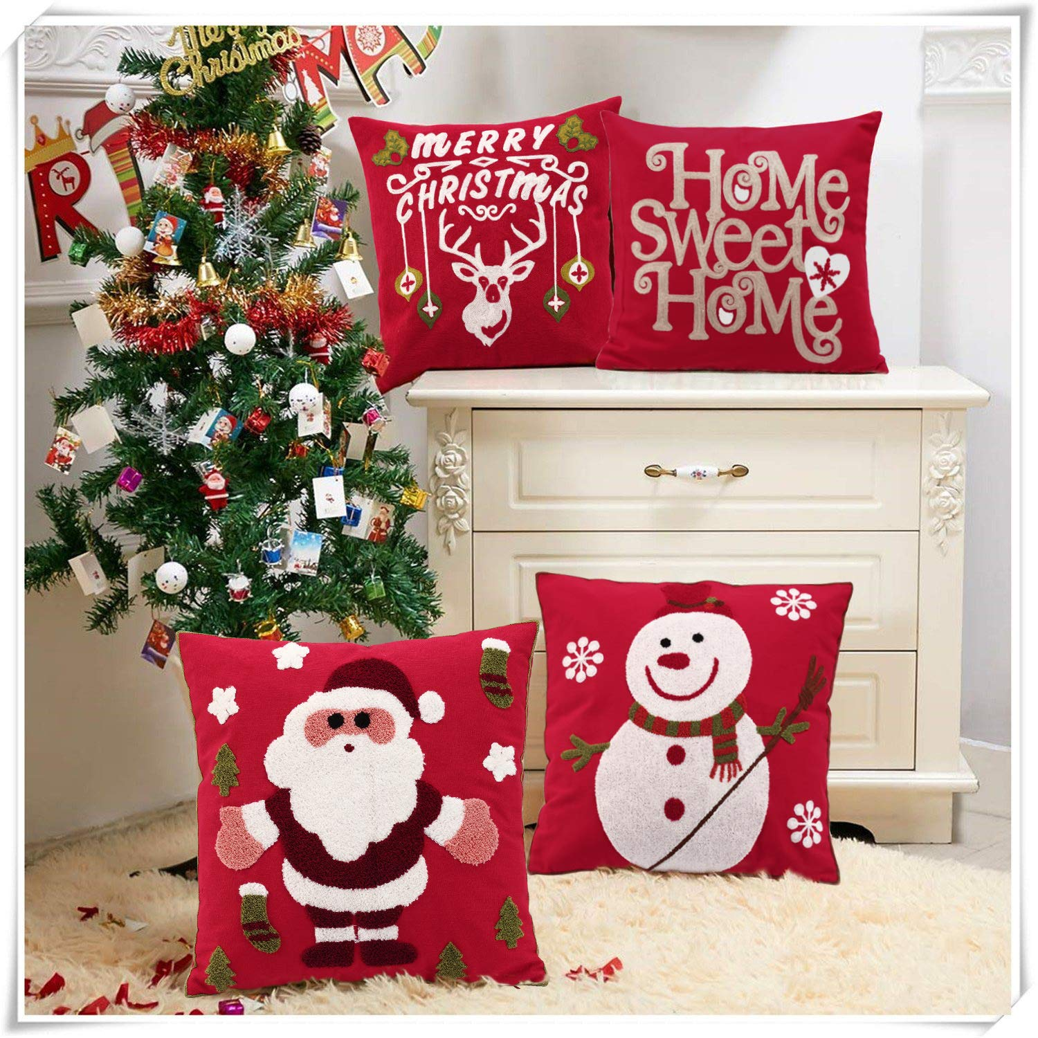 Oneslong Red Christmas Pillow Covers Embroidery Throw Pillow Cases 18x18 inch Santa Merry Christmas Decorative Sofa Cushion Covers