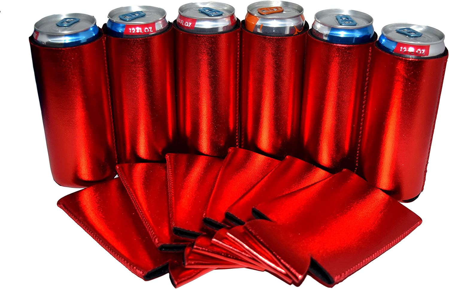 QualityPerfection 6 Slim Can Cooler Sleeve - Beer Blank Skinny 12 oz Neoprene Coolie - Perfect For 12 oz Michelob Ultra,Truly,White Claw - Great Gift For The Holidays (6, Metallic Red)