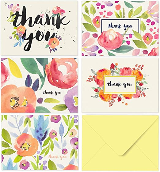Thank You Notes; Thank You Cards; Beautiful Watercolor Flower; Single; Packs of 5; 10; 15