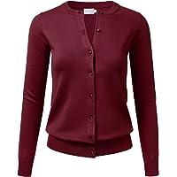 FLORIA Women Gem Button Crew Neck Long Sleeve Soft Knit Cardigan Sweater (S-3XL)