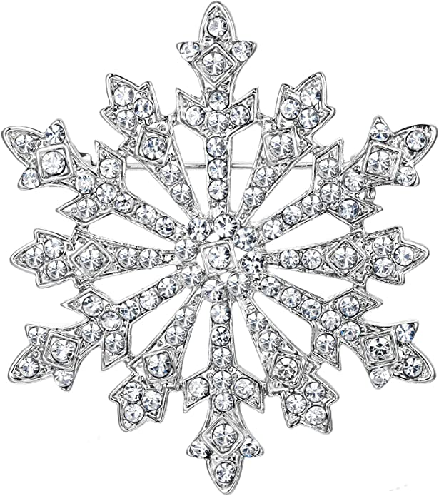 EVER FAITH Austrian Crystal Winter Art Deco Snowflake Flower Brooch Pin