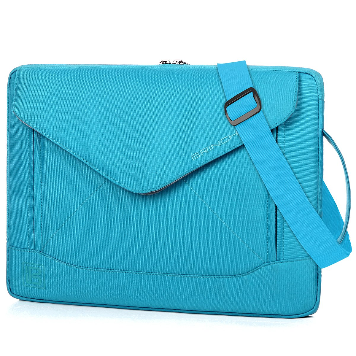 BRINCH Durable Envelope Nylon 15-15.6 Inch Laptop/Notebook/Macbook/Ultrabook/Tablet Computer Bag Shoulder Carrying Envelope Case Pouch Sleeve With Shoulder Strap Pockets and Card Slots (Blue)