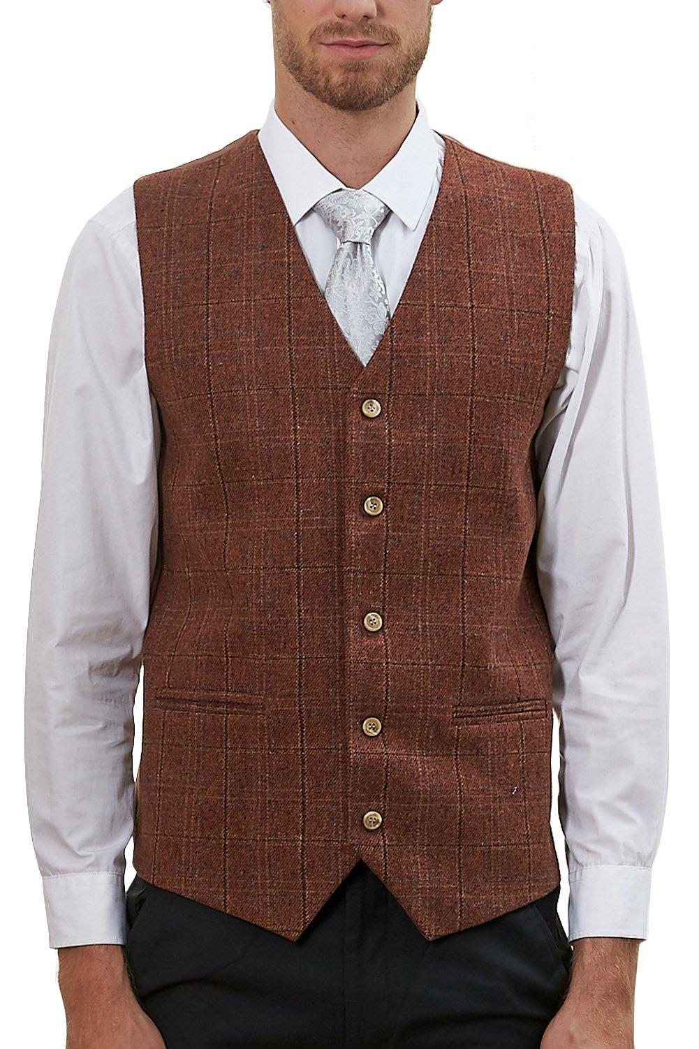 Hanayome Men's Vest 5 Buttons V-Nek Tweed Lattice Wedding Dress Suit Waistcoat VS57 (Brown,XXXL)