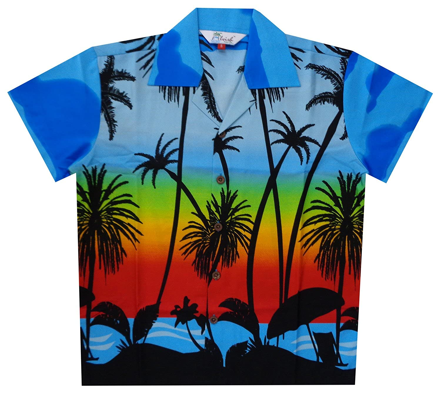 bc1f33616ea8 Coconut Tree Scenic Printed Aloha Hawaiian Shirt 100% Polyester Machine  Wash and Wrinkle Free Coconut Buttons Gives You Tremendous look.