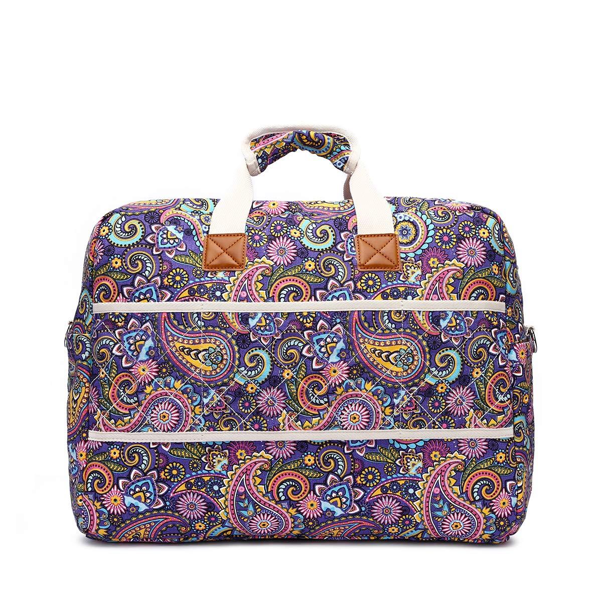 Malirona Women's Canvas Overnight Weekender Bag Carry On Travel Duffel Tote Bag Bohemian Flower (Purple Flower) by Malirona (Image #4)