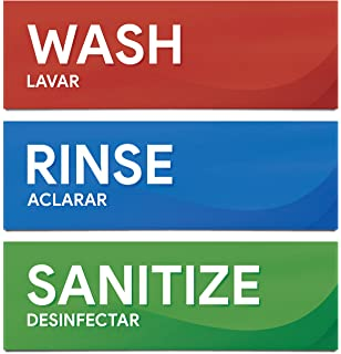 photograph regarding Wash Rinse Sanitize Printable Signs named : Clean Rinse Sanitize Sink Labels, High quality