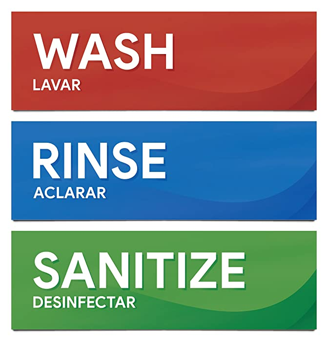 "Wash Rinse and Sanitize Sink Labels | Sticker Signs for Restaurants, Kitchens, Food Trucks, Bussing Stations, Dishwashing (Three 8 1/2"" x 2 3/4"" Stickers)"