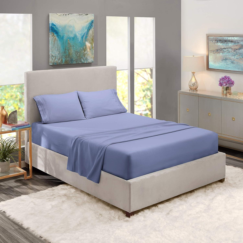 "Nestl Bedding Soft Sheets Set – 4 Piece Bed Sheet Set, 3-Line Design Pillowcases – Easy Care, Wrinkle – 10""–16"" Deep Pocket Fitted Sheets – Warranty Included – Flex-Top King, Steel Blue"
