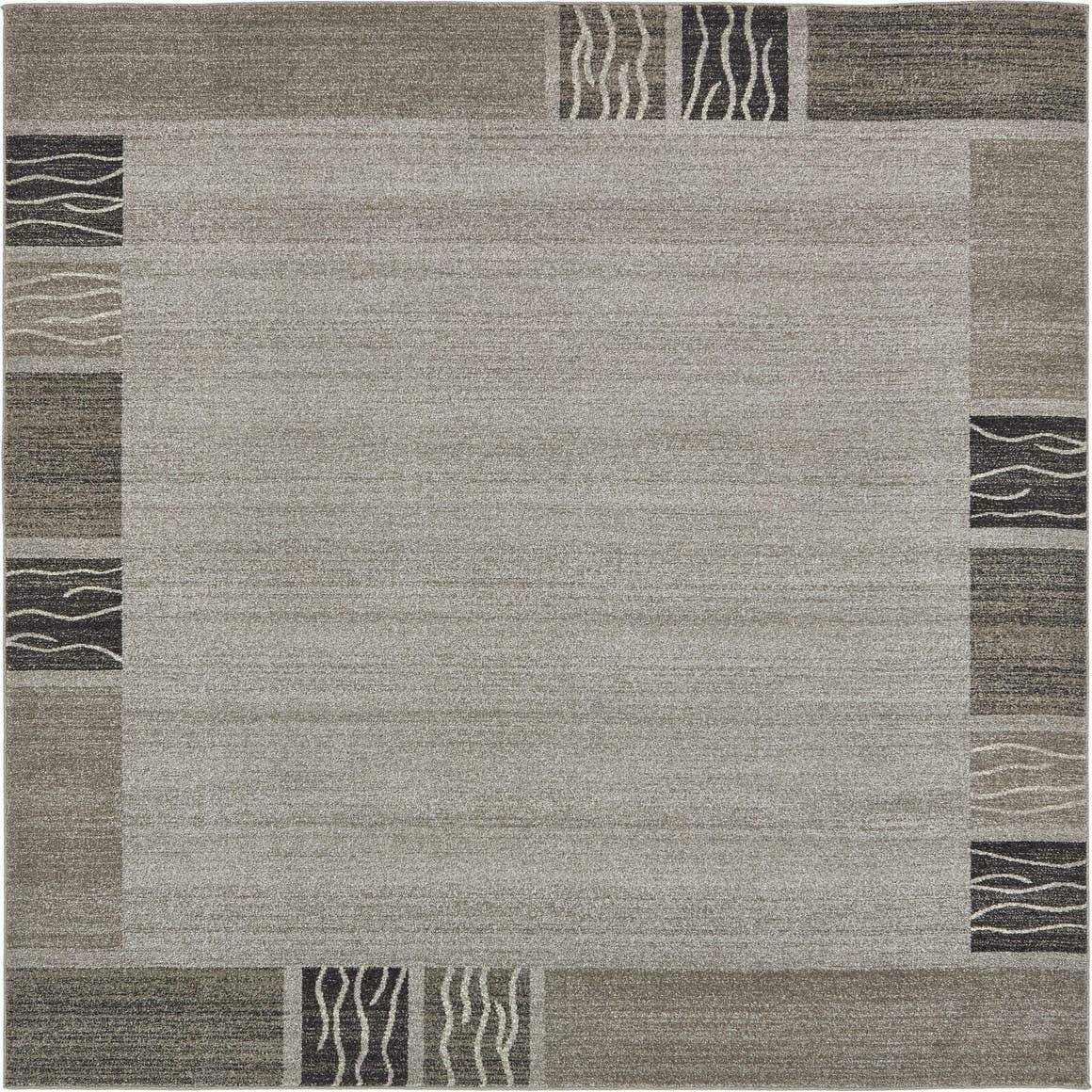Unique Loom Del Mar Collection Contemporary Transitional Light Gray Square Rug 8 0 x 8 0