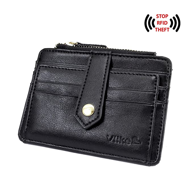 Women s RFID Blocking Mini slim Card holder Leather Small Wallet ID  Window Zip 69d7568377