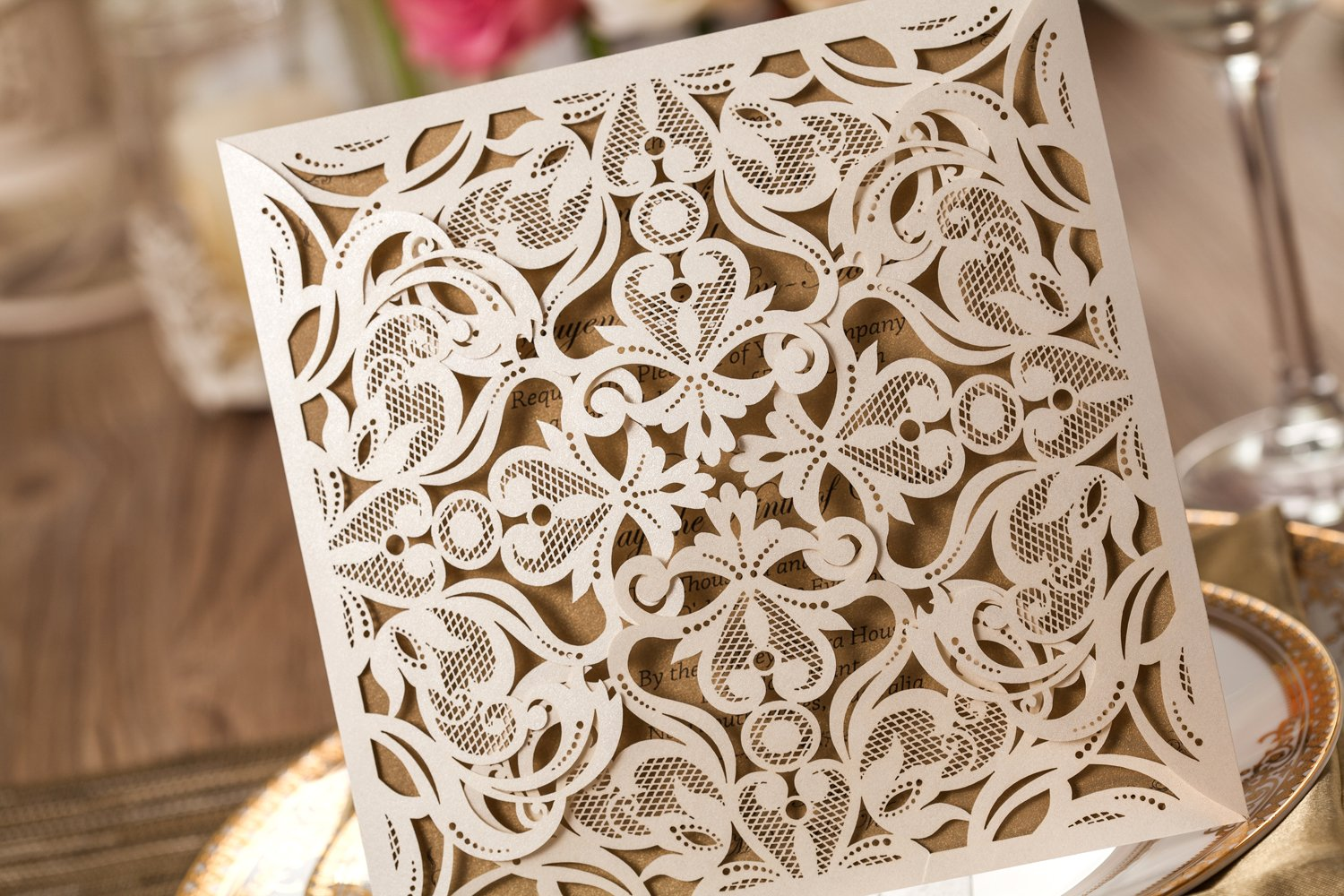 Amazon.com: Wishmade 50x Beige Laser Cut Square Wedding Invitations Cards  With Lace Flowers Engagement Birthday Bridal Shower Baby Shower Graduation  ...