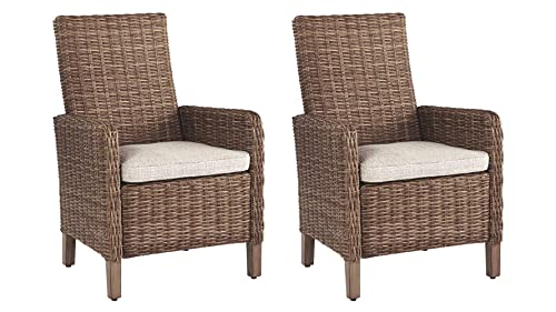 Ashley Furniture Signature Design – Beachcroft Outdoor Arm Chair with Cushion – Set of 2 – Beige