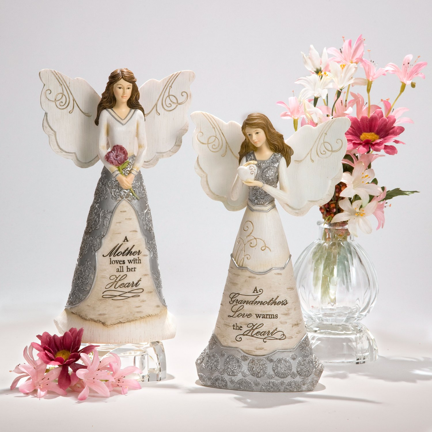 Elements Grandmother Angel Figurine by Pavilion, 8-Inch, Holding Heart, Inscription a Grandmother s Love Warms The Heart