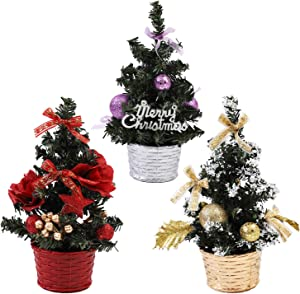 URATOT 3 Pack Small Christmas Desk Tree Mini Christmas Tree with Base for Desk Table Tops Christmas Decoration