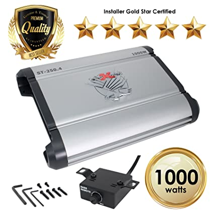 SoundXtreme ST-250 4 Four Channel Amplifier 2 Ohm Stable 1000W w/ Remote  Subwoofer Level Control