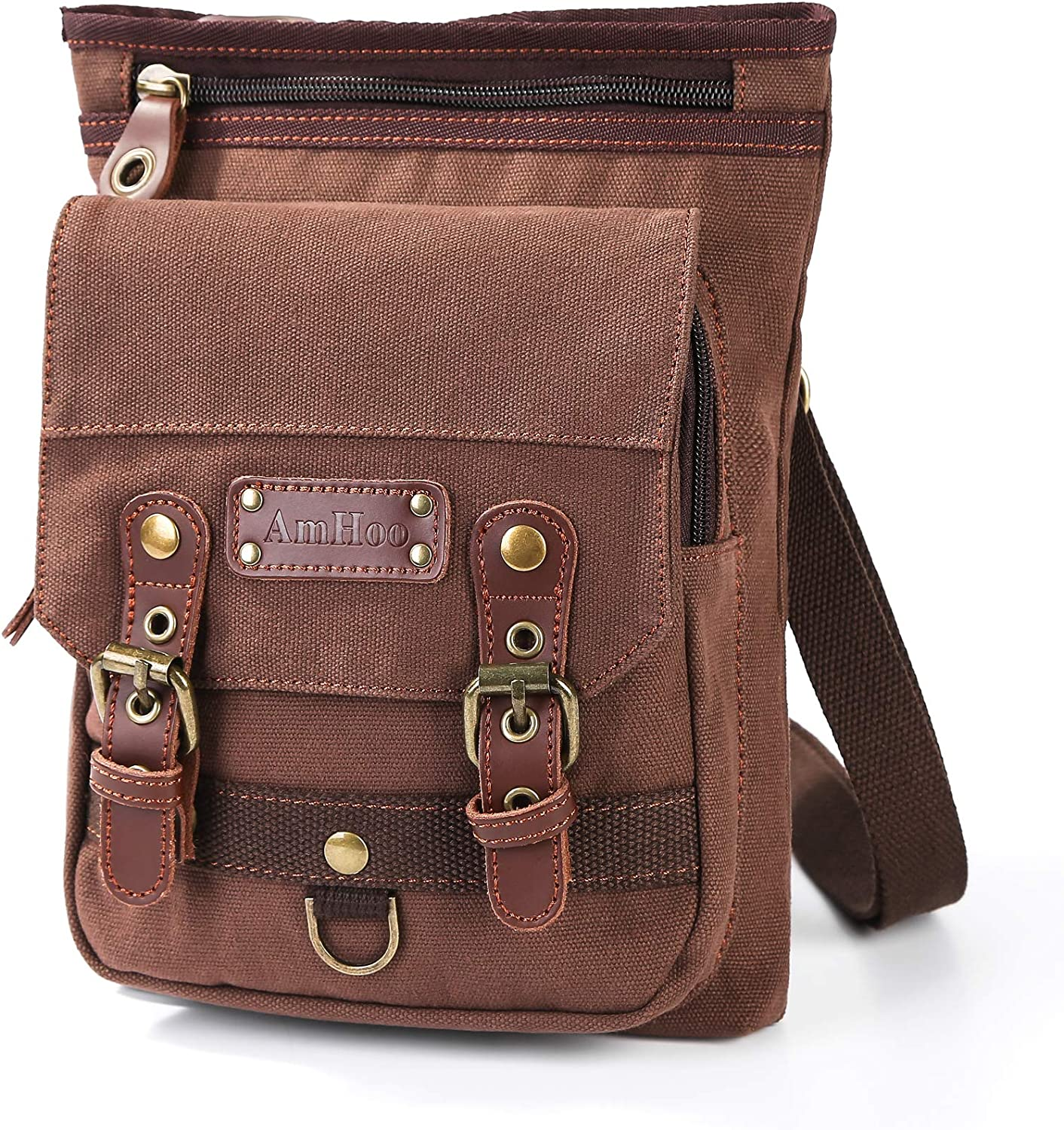Plambag Canvas Messenger Bag Small Travel School Crossbody Bag Coffee