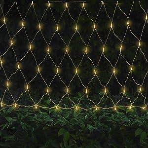 Oopswow Garden Net String Light Mesh Tree Light Outdoor String Light Twinkle Light 9.8ft x 6.6ft 192LED 8Mode for Tree wrap Lawn Backyard Indoor Christmas Decor (Warm White)