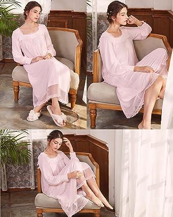 AIKOSHA Womens Victorian Style Full Length Long Sleeve Square Neck Cotton  Nightdress at Amazon Women s Clothing store  4b8b844eb