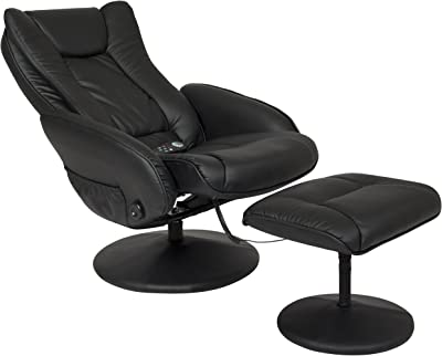 Best Choice Products Faux Leather Massage Recliner Chair w/Ottoman, Remote Control, 5 Heat and Massage Modes - Black