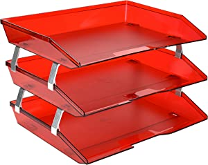 Acrimet Facility 3 Tier Letter Tray Side Load Plastic Desktop File Organizer (Clear Red Color)