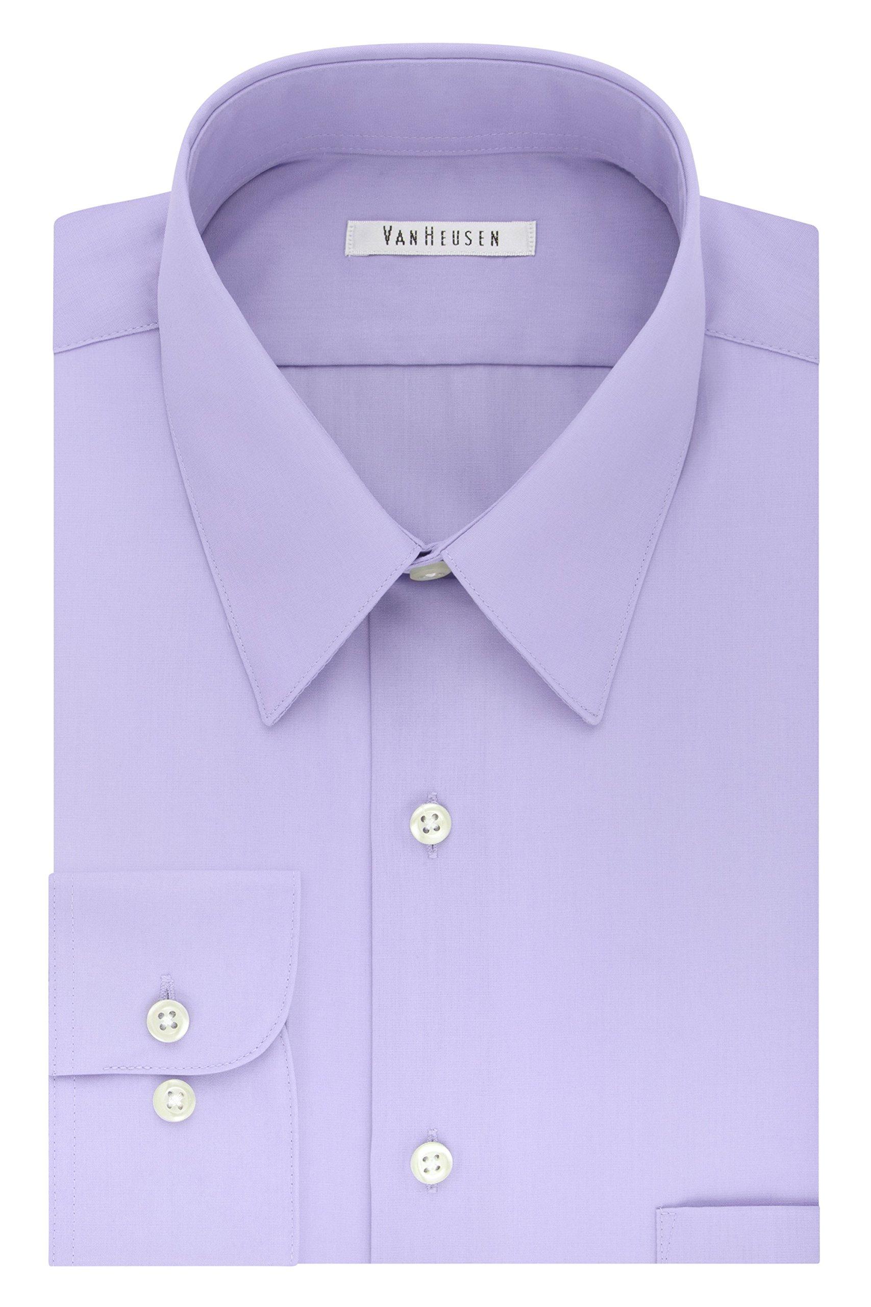 Van Heusen Men's Tall Size Big Dress Shirt Fit Poplin, Lavender, 22'' Neck 35''-36'' Sleeve