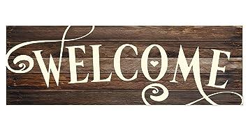 Amazon.com: Señal de pared de madera rústica de bienvenida ...