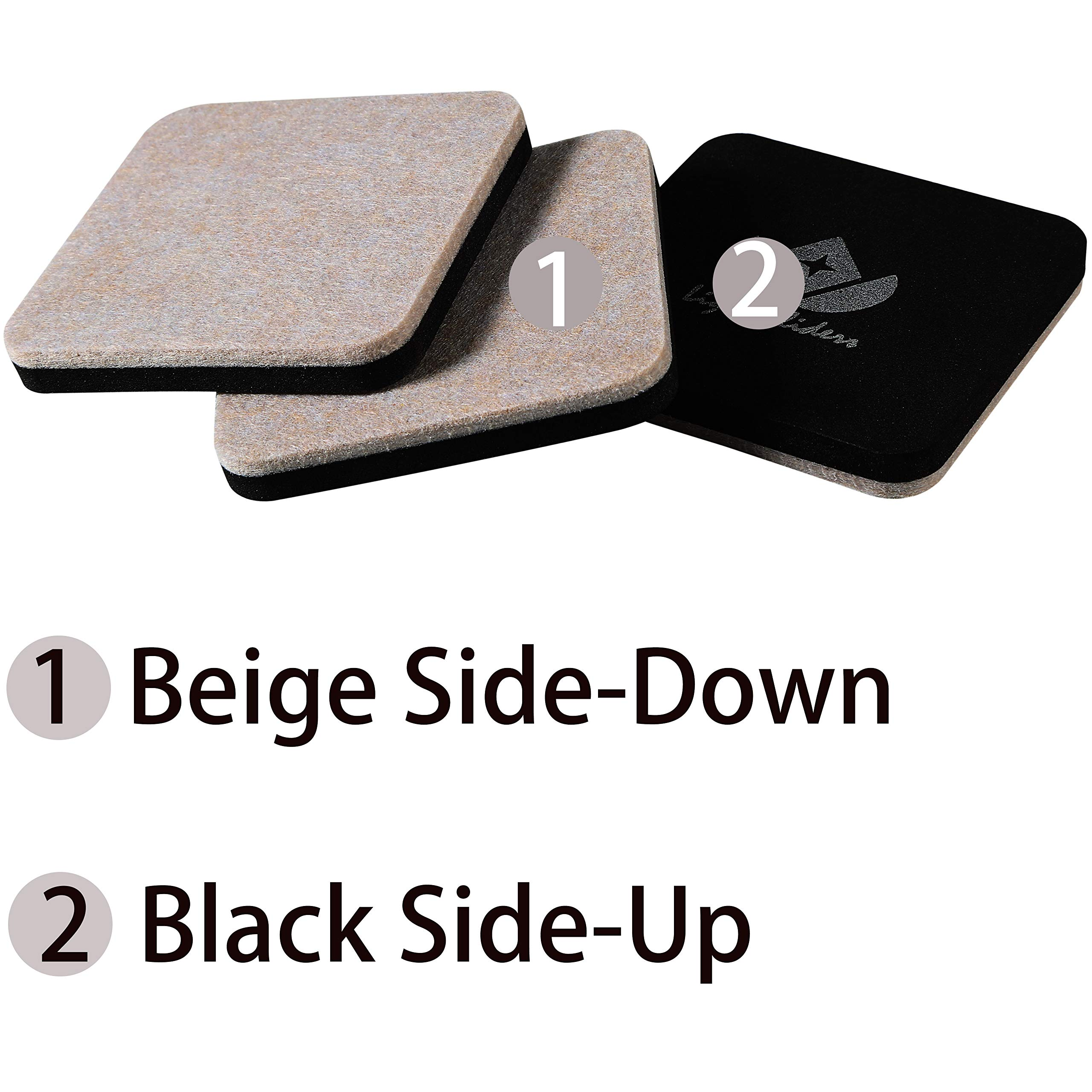Liyic 20 Pack 3in.Square Felt Sliders for Hard Surfaces-Felt Furniture Sliders - Heavy Duty Sliders – Reusable Hardwood Floor Sliders -Furniture Moving Sliders-Sofa Sliders Gliders Glides Movers by Liyic (Image #3)