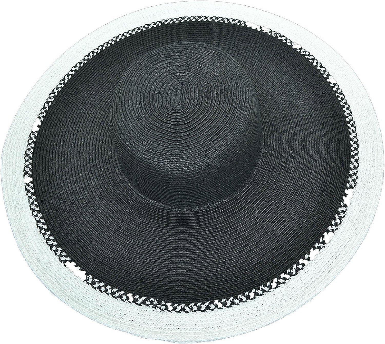 4875ecf9e07 Nine West Womens Wide Brim Floppy Hat One Size White Black at Amazon Women s  Clothing store