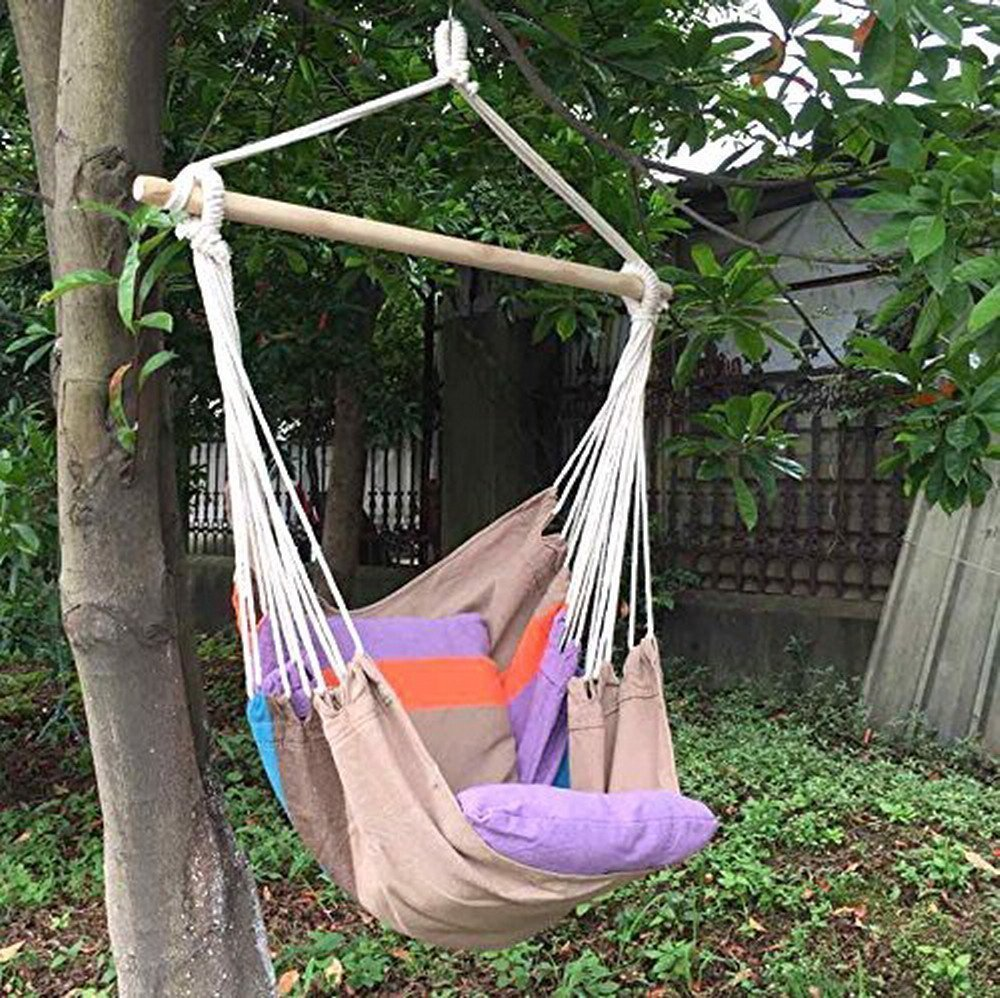 Hammock Chair Hanging Rope Chair Porch Swing Outdoor Chairs Lounge Camp Seat At Patio Lawn Garden Backyard Beigi
