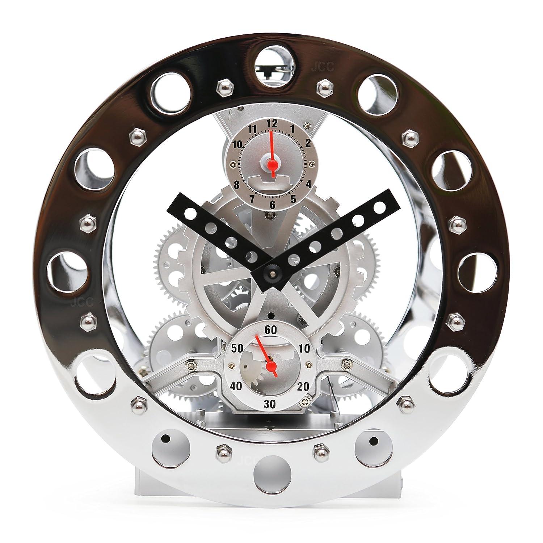 Amazon.com: JCC Retro Modern Decorative Mechanical Revolving Motion Wheel  Moving Gear Clock Desk Clock With Alarm Function Battery Operated (Silver):  Home U0026 ...