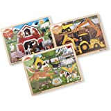 Melissa & Doug Wooden Jigsaw Puzzle arm, Construction, Pets Puzzle (24 Piece)