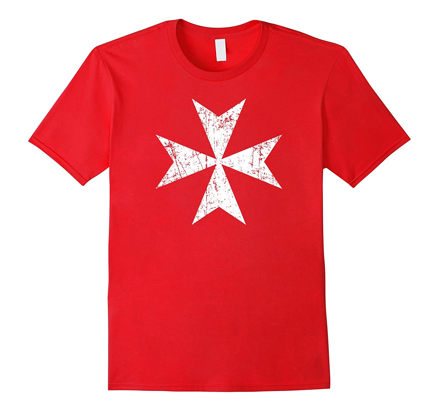 Maltese Cross T-shirt - Distressed white print Malta cross-CD