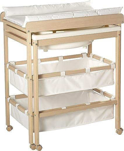 roba Combinaison baignoire-table /à langer en bois naturel table /à langer avec baignoire coulissante et avec matelas /à langer  en blanc 100x56x83cm. HxLxP