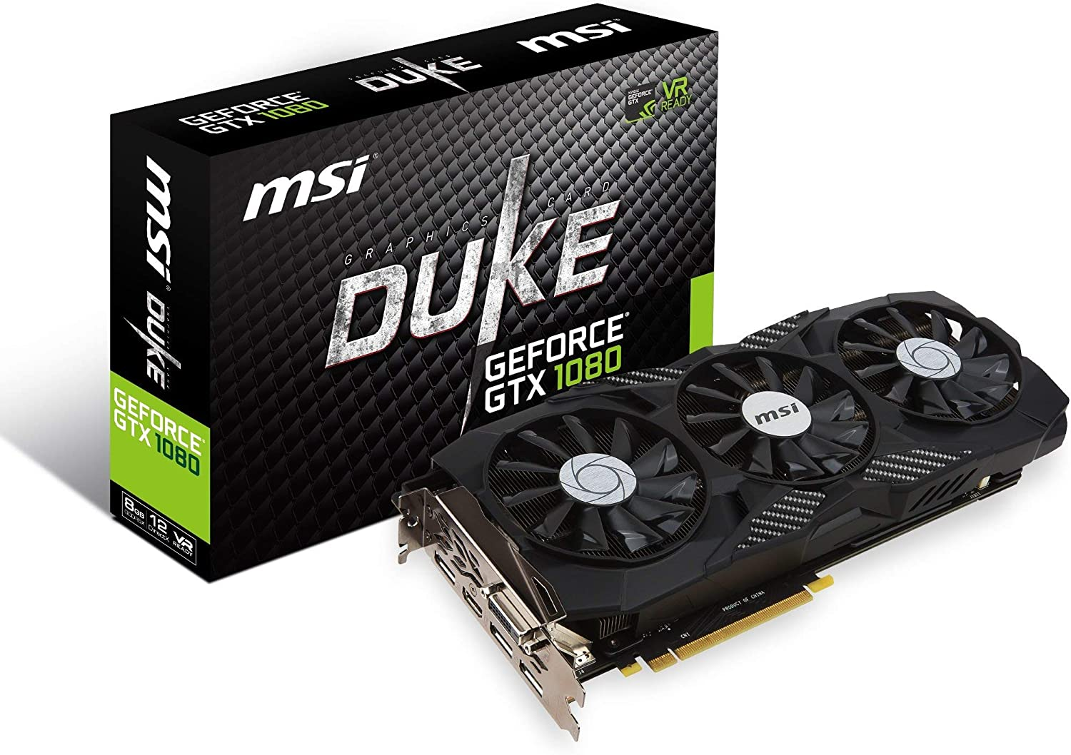 MSI Gaming GeForce GTX 1080 8GB GDDR5X SLI DirectX 12 VR Ready Graphics Card (GTX 1080 DUKE 8G OC) (Renewed)