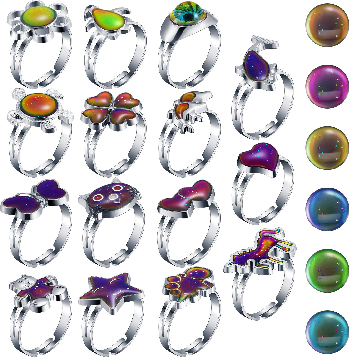 Hicarer 15 Pieces Adjustable Mood Rings for Girls and Boys Mixed Color Changing Mood Rings for Halloween Costume Props Birthday Party Favors and Goodie Bag Fillers (Style B) by Hicarer