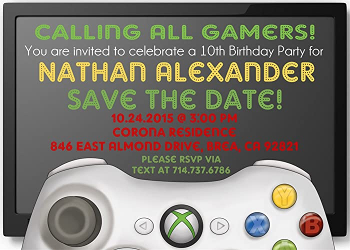 Image Unavailable Not Available For Color XBOX Birthday Party Invitations