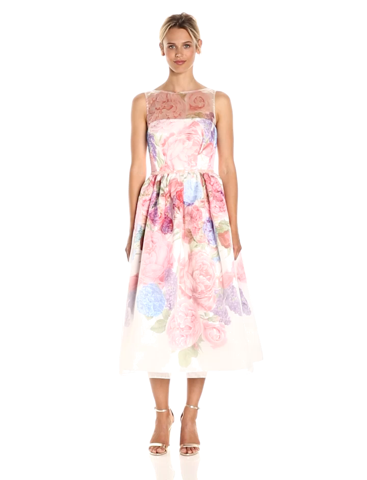 4fa9272b85 Carmen Marc Valvo Infusion Women s Floral Organza Party Dress with Beaded  Belt at Amazon Women s Clothing store