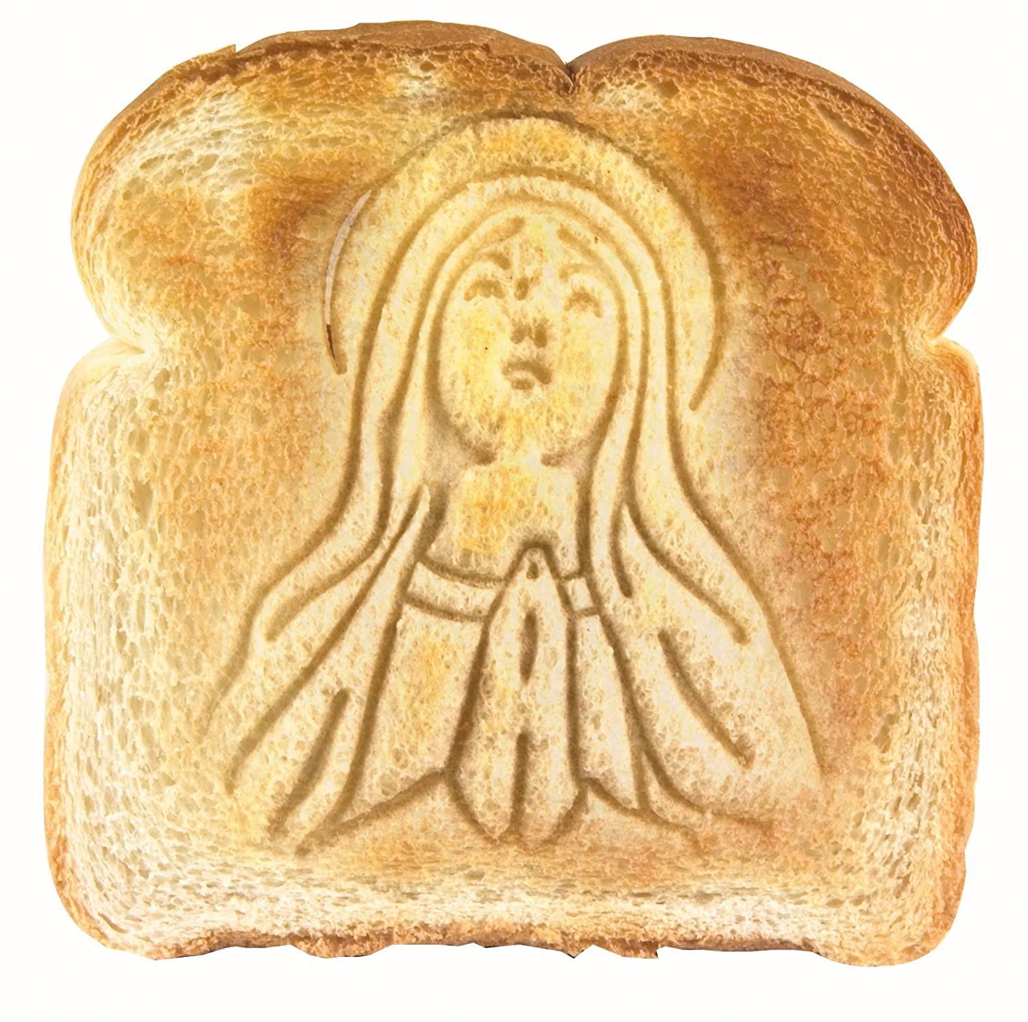 Holy Toast Mary toast stamper for bread to be toasted.